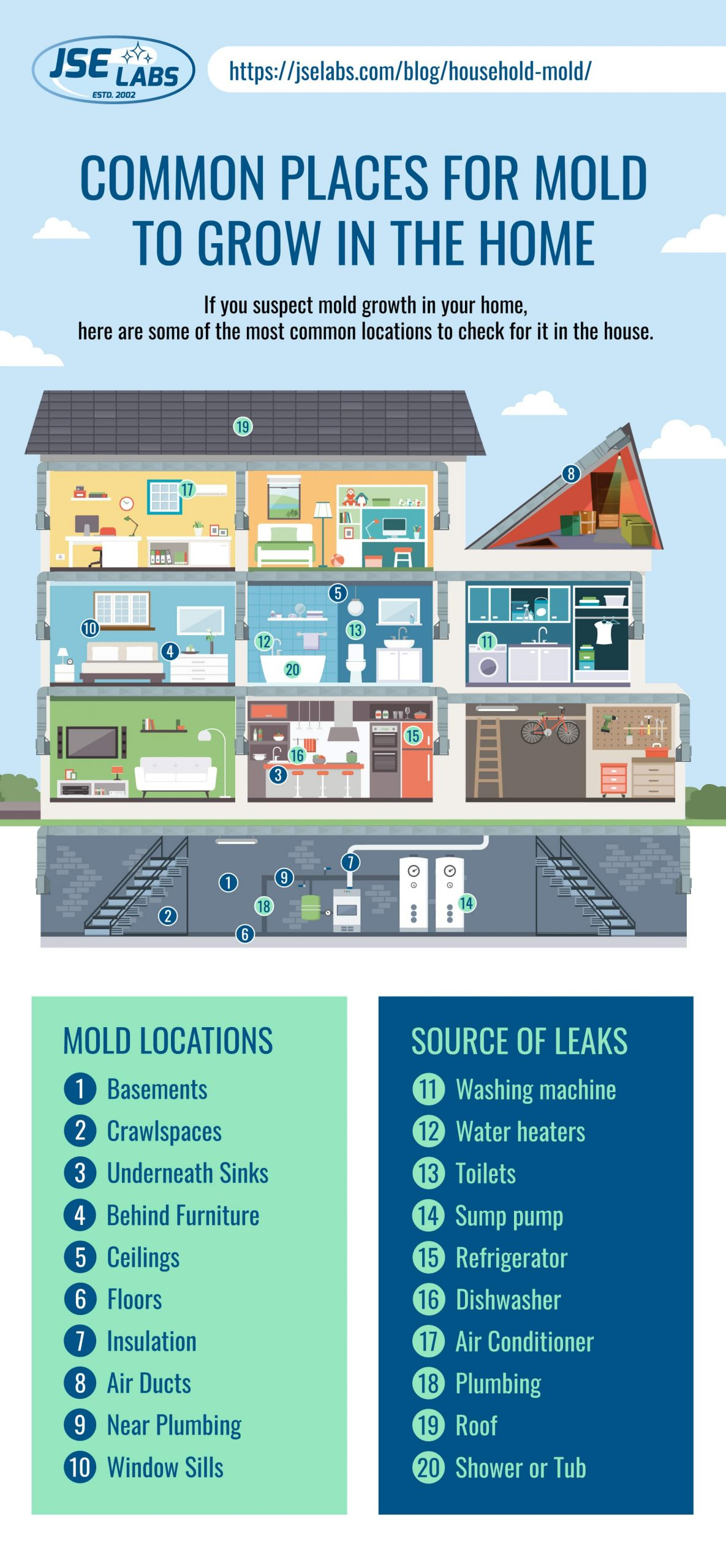 Common places for mold to grow in the home infographic with mold locations and source of home leaks